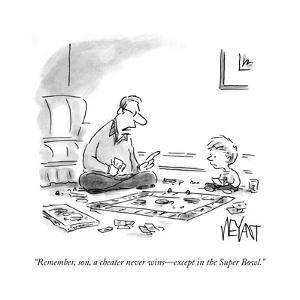 """Remember, son, a cheater never wins—except in the Super Bowl."" - Cartoon by Christopher Weyant"