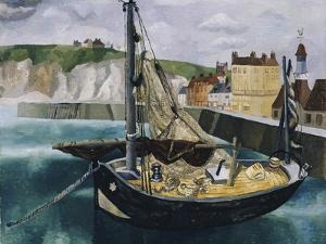 A Fishing Boat in Dieppe Harbour by Christopher Wood