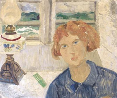 Girl and Lamp in a Cornish Window