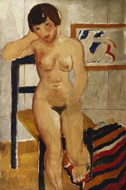 Nude with a Striped Rug, Meraud Guinness, 1928 by Christopher Wood