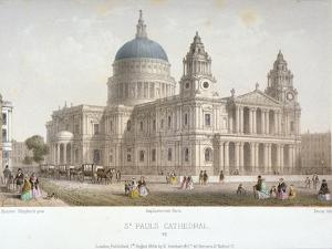North-West View of St Paul's Cathedral with Figures Walking in Front, City of London, 1854 by Christopher Wren