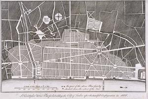 Proposed Plan for the Rebuilding of the City of London after the Great Fire in 1666 by Christopher Wren