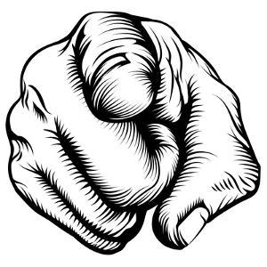 Retro Black Woodcut Print Style Hand Pointing Finger at Viewer, from Front by Christos Georghiou