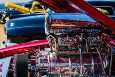 Chrome-plated hot rod engine at antique car show, Cape Ann, Gloucester, Massachusetts, USA