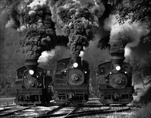 Train Race In Bw by Chuck Gordon