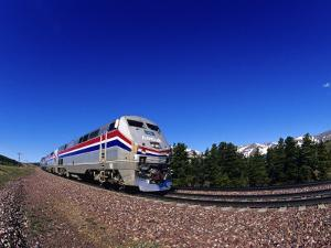 Amtrak Train at Marias Pass, Montana, USA by Chuck Haney