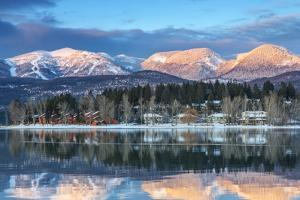 Big Mountain Reflects in Whitefish Lake, Whitefish, Montana, Usa by Chuck Haney