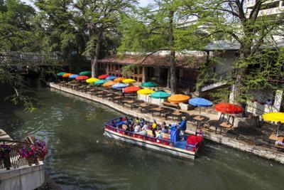Boat Tours on the Riverwalk in Downtown San Antonio, Texas, USA