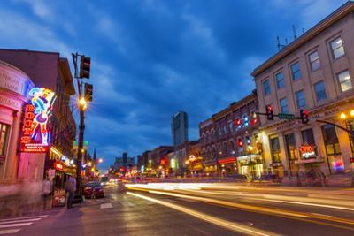 Broadway Street at Dusk in Downtown Nashville, Tennessee, USA by Chuck Haney