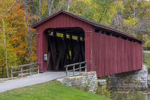 Cataract Covered Bridge over Mill Creek at Lieber, Indiana by Chuck Haney