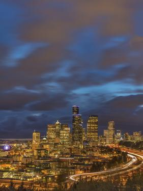 City skyline and Interstate 90 and 5 from Rizal Bridge in downtown Seattle, Washington State, USA by Chuck Haney