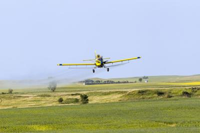 Crop Duster Airplane Spraying Farm Field Near Mott, North Dakota, USA by Chuck Haney