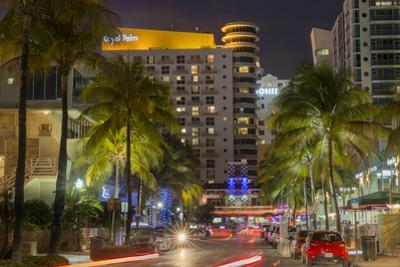 Dusk Light on Ocean Drive in South Beach in Miami Beach, Florida, USA by Chuck Haney