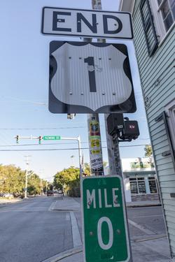 End of US Highway 1 with Mile Zero marker in Key West, Florida, USA by Chuck Haney