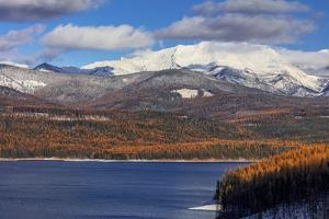 Hungry Horse Reservoir in autumn with Great Northern Mountain in the Flathead National Forest by Chuck Haney