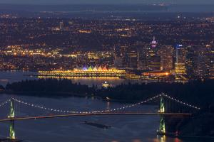 Lions Gate Bridge and downtown cityscape, Vancouver, British Columbia, Canada by Chuck Haney