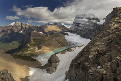 Looking Down at Grinnell Glacier in Glacier National Park, Montana, USA