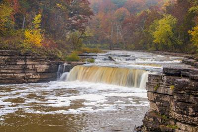 Lower Cataract Falls on Mill Creek in Autumn at Lieber Sra, Indiana