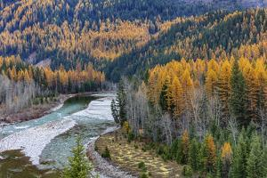 Middle Fork of the Flathead River in autumn in Glacier National Park, Montana, USA by Chuck Haney