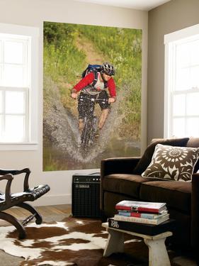 Mountain Biker Splashes Through Andrews Creek, Maah Daah Hey Trail in Medora, North Dakota, USA by Chuck Haney