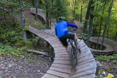 Mountain biking on the Over the Edge Trail, Copper Harbor, Michigan