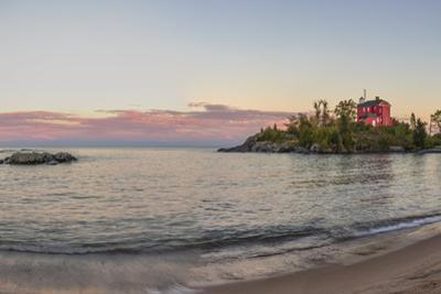 Panoramic of the Marquette Harbor Lighthouse on Lake Superior in Marquette, Michigan USA by Chuck Haney