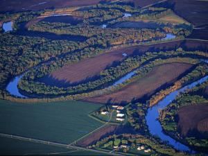 Red River of the North Aerial, near Fargo, North Dakota, USA by Chuck Haney