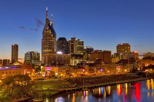 Skyline at Dusk over the Cumberland River in Nashville Tennessee by Chuck Haney