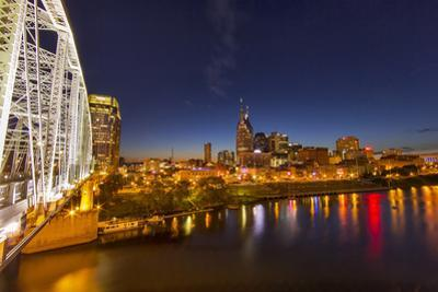 Skyline at Dusk over the Cumberland River in Nashville Tennessee