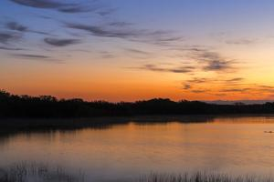 Sunrise Clouds Reflect into Nine Mile Pond in Everglades NP, Florida by Chuck Haney