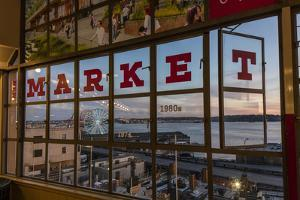 The Great Wheel Framed in Pike Market Place Windows in Seattle, Washington State, Usa by Chuck Haney