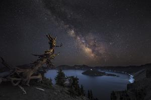The Milky Way over Wizard Island at Crater Lake National Park, Oregon, USA by Chuck Haney