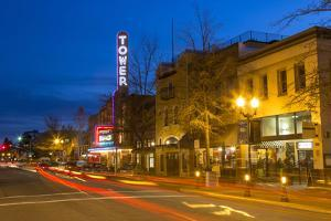 Tower Theatre on Wall Street at Dusk, Bend, Oregon, USA by Chuck Haney