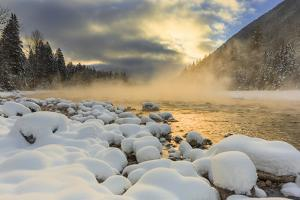 Very cold sunrise over the South Fork of the Flathead River in Hungry Horse, Montana, USA by Chuck Haney