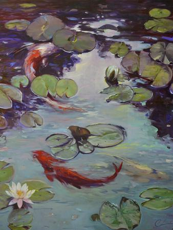 Red Koi and Lilies