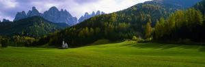 Church and Mountains in Background, Santa Maddalena, Val De Funes, Le Odle, Dolomites, Italy