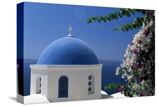 Church cupola of Oia, Santorini, Cyclades, Greece--Stretched Canvas Print