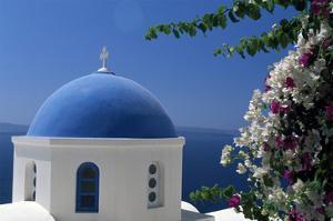 Church cupola of Oia, Santorini, Cyclades, Greece