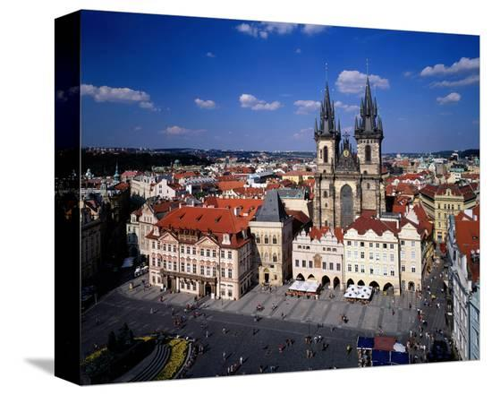 Church of our Lady at Tyn, Old Town Square, Prague, Central Bohemia, Czech Republic--Stretched Canvas Print