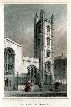 Church of St Mary Aldermary, City of London, C1830 by W Watkins