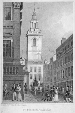 Church of St Stephen Walbrook from the Corner of Mansion House, City of London, 1830 by R Acon