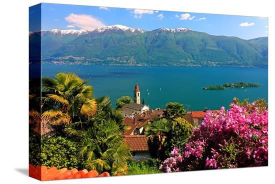 Church San Martino and Lake with Brissago Islands, Ronco Sopra Ascona on Lake Maggiore--Stretched Canvas Print