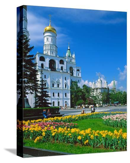 Churches on Cathedral Square in the Kremlin, Moscow, Russia--Stretched Canvas Print