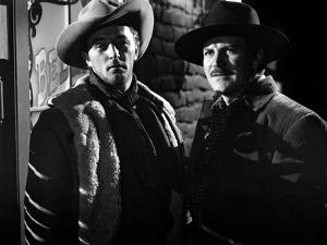 Ciel rouge BLOOD ON THE MOON by Robert Wise with Robert Mitchum and Robert Preston, 1948 (b/w photo