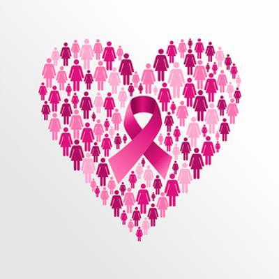 Breast Cancer Awareness Ribbon - Women Heart Shape by cienpies