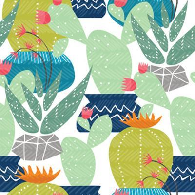 Cactus Plant Pattern - Colorful House Interior Mexican Plants by cienpies