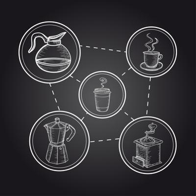 Coffee Elements - Chalkboard Illustration by cienpies