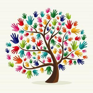Colorful Solidarity Hand Tree by cienpies