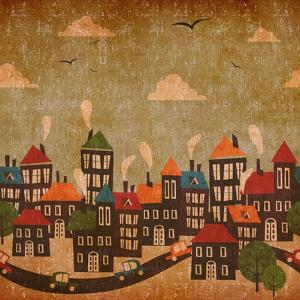 Abstract Winter City Vintage Colorful by Cienpies Design