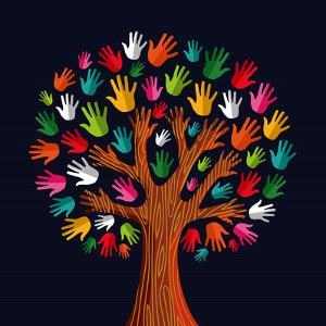 Colorful Diversity Tree Hands Illustration by Cienpies Design